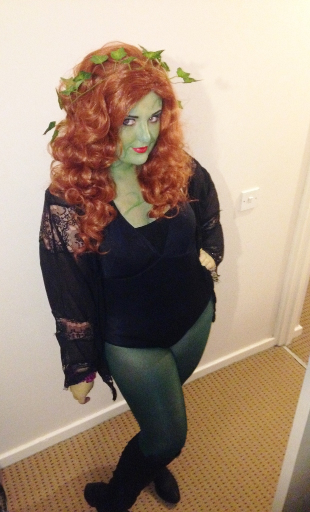 I created this costume with a wig purchased for a Ginger Spice costume, green face paint, tights, a swimming costume and a kimono.